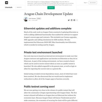Aragon Chain Development Update