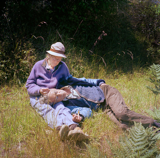 George Oppen and Mary Oppen at Point Reyes, 1977.