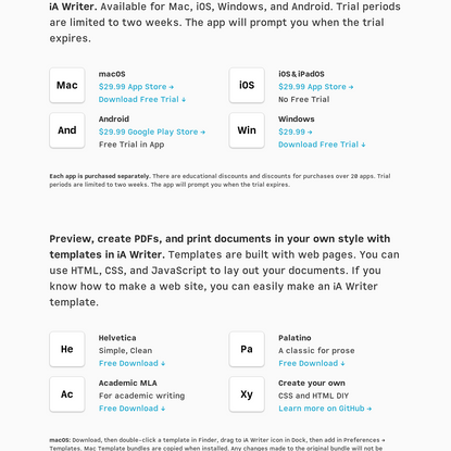 Free trials of iA Writer, free templates and the Mono, Duo and Quattro fonts