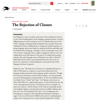 The Rejection of Closure by Lyn Hejinian | Poetry Foundation