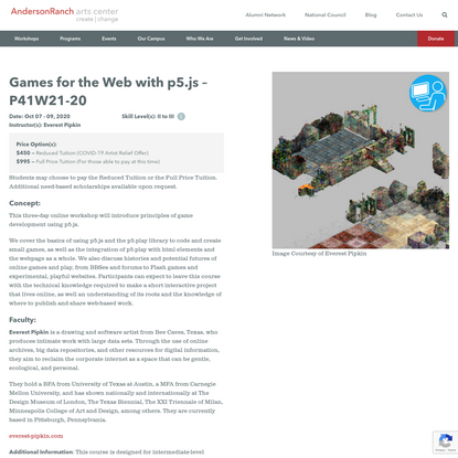 Games for the Web with p5.js - P41W21-20 | Anderson Ranch