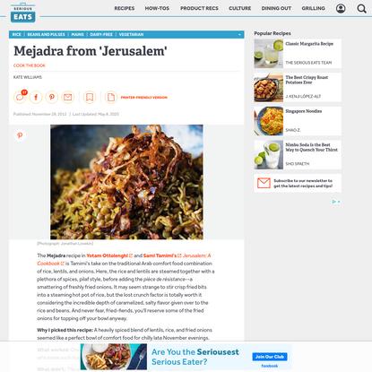 Mejadra from 'Jerusalem' Recipe