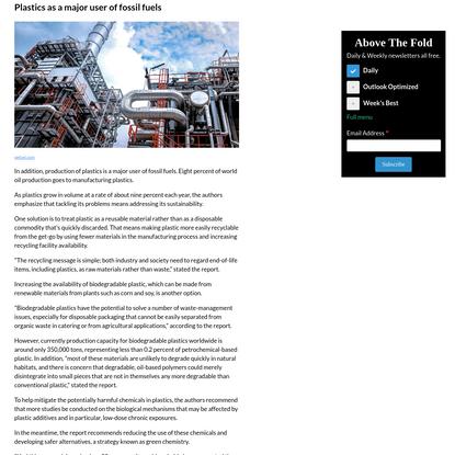 Plastics as a major user of fossil fuels
