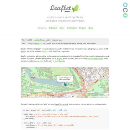 Leaflet - an open-source JavaScript library for interactive maps