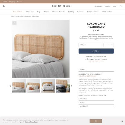 Modern Hanging Cane Headboard | Handcrafted in Indonesia - The Citizenry