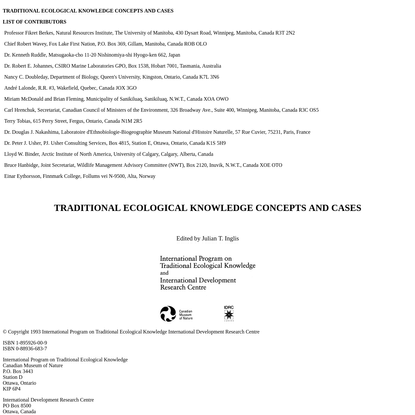 Traditional Ecological Knowledge Concepts and Cases