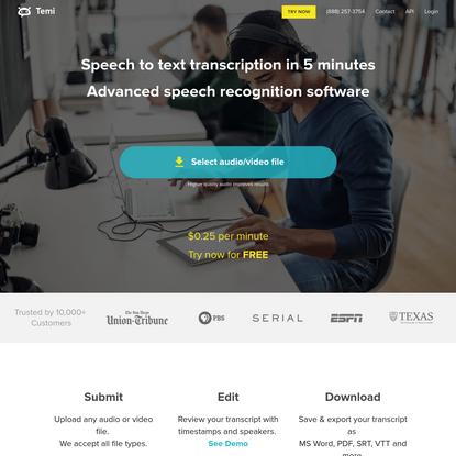 Audio to Text Automatic Transcription Service & App | temi.com