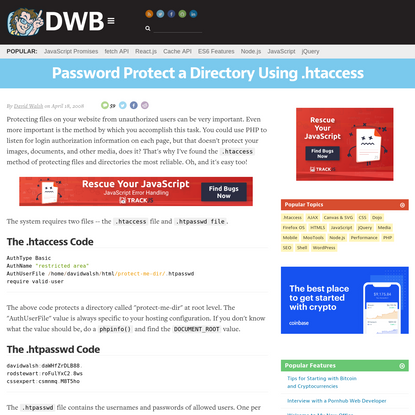 Password Protect a Directory Using .htaccess