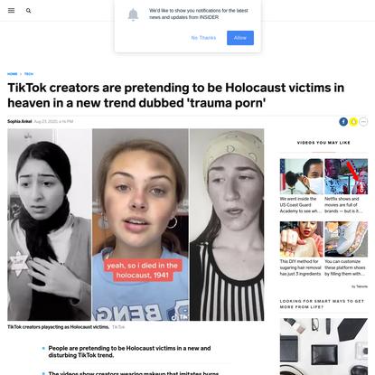 TikTok creators are pretending to be Holocaust victims in heaven in a new trend dubbed 'trauma porn'