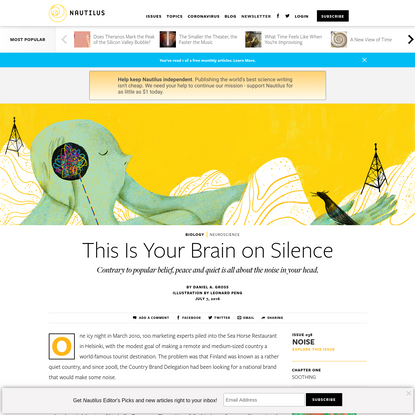 This Is Your Brain on Silence - Issue 38: Noise - Nautilus