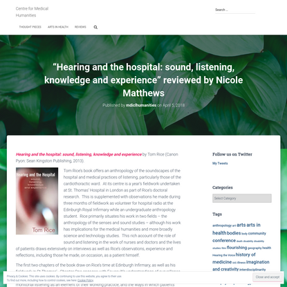 """""""Hearing and the hospital: sound, listening, knowledge and experience"""" reviewed by Nicole Matthews"""