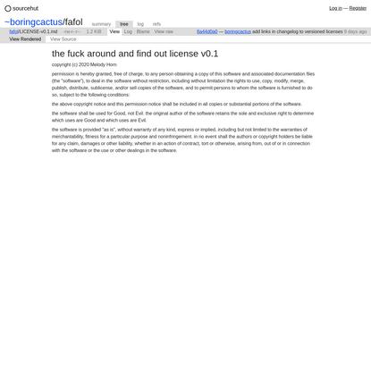 ~boringcactus/fafol: LICENSE-v0.1.md - sourcehut git