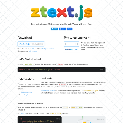 ztext.js | 3D Typography for the Web