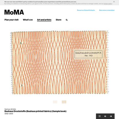 Various Artists. Bauhaus Druckstoffe (Bauhaus printed fabrics) (Sample book). 1932-1933   MoMA