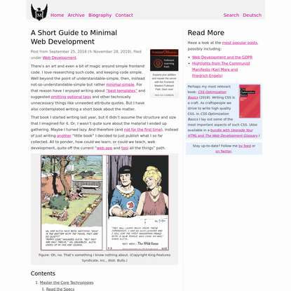 A Short Guide to Minimal Web Development · Jens Oliver Meiert