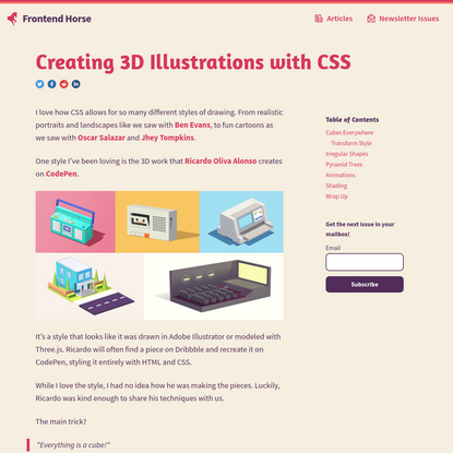 Frontend Horse - Creating 3D Illustrations with CSS