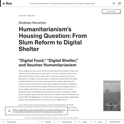 Humanitarianism's Housing Question: From Slum Reform to Digital Shelter