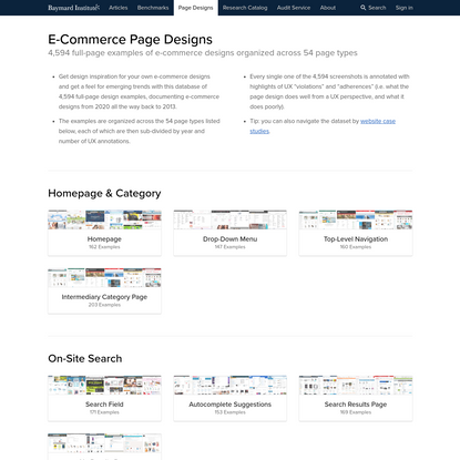 4,594 E-Commerce Design Examples Distributed Across 54 Page Types - Baymard Institute