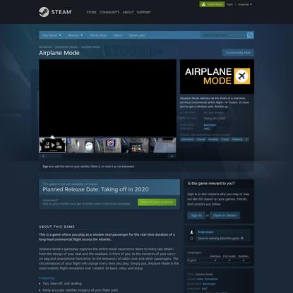 Airplane Mode on Steam