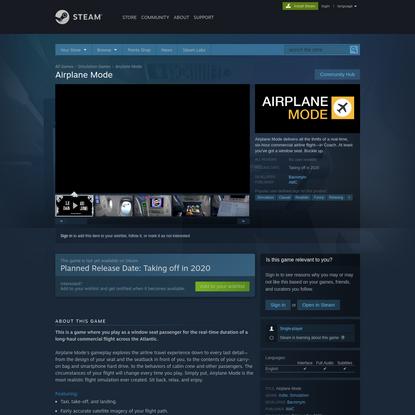 Airplane Mode on Steam