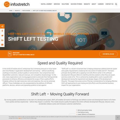 Shift Left Testing Benefits: Speed and Quality Required - Infostretch