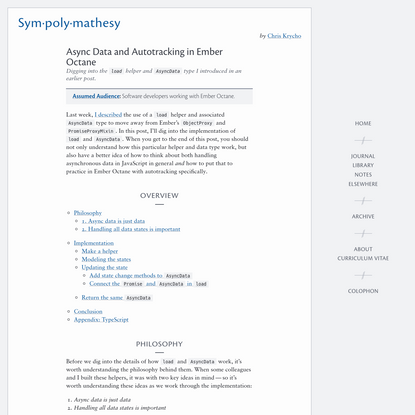 Async Data and Autotracking in Ember Octane-Sympolymathesy, by Chris Krycho
