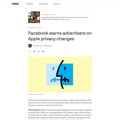 Facebook warns advertisers on Apple privacy changes