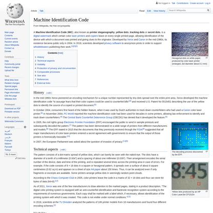 Machine Identification Code
