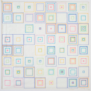 Vera Molnar, Carrés, 1973, computer graphic and ink on paper.