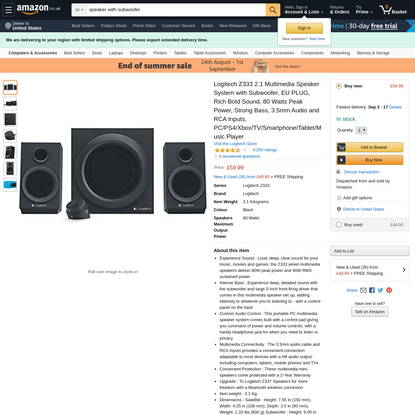 Logitech Z333 2.1 Multimedia Speaker System with Subwoofer, EU PLUG, Rich Bold Sound, 80 Watts Peak Power, Strong Bass, 3.5m...
