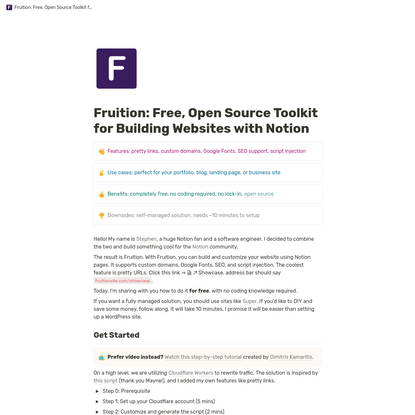 Fruition - Build Your Next Website With Notion, For Free