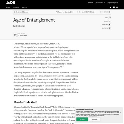 Age of Entanglement · Journal of Design and Science