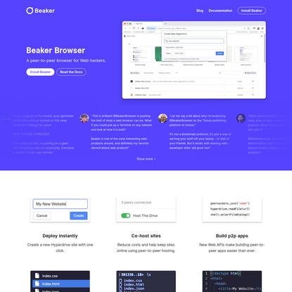 Beaker | A peer-to-peer browser for Web hackers.