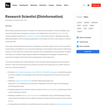 Research Scientist (Disinformation) at Wikimedia Foundation, Inc. - Remotify