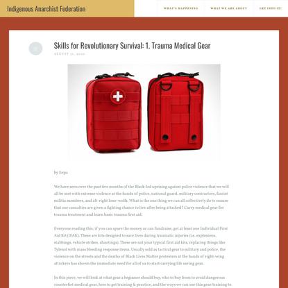 Skills for Revolutionary Survival: 1. Trauma Medical Gear