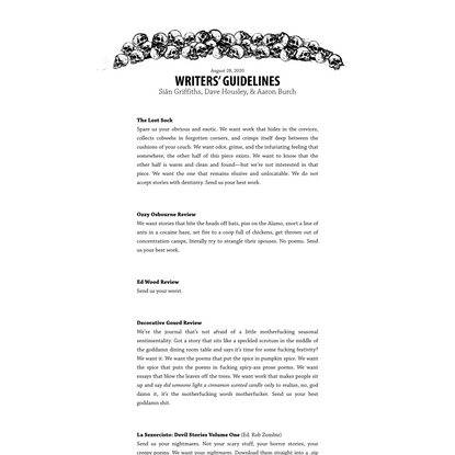 Writers' Guidelines by Siân Griffiths, Dave Housley, & Aaron Burch