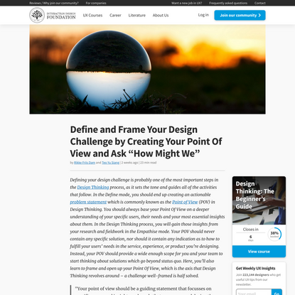 """Define and Frame Your Design Challenge by Creating Your Point Of View and Ask """"How Might We"""""""