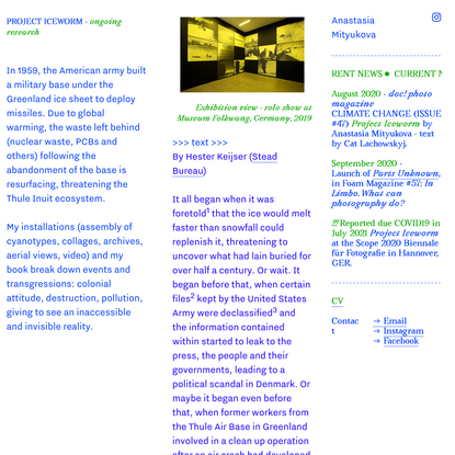 project iceworm — anastasia mityukova