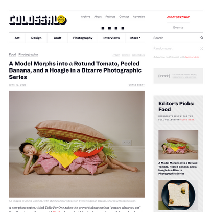 A Model Morphs into a Rotund Tomato, Peeled Banana, and a Hoagie in a Bizarre Photographic Series