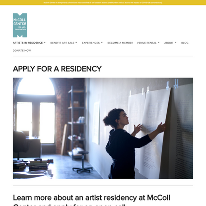 Apply for a residency - McColl Center for Art + Innovation
