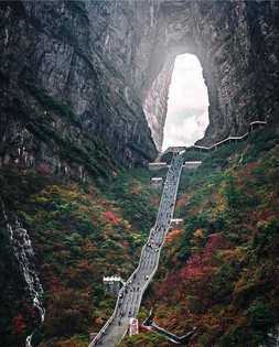 The Heaven's Gate on Tianmen Mountain in China
