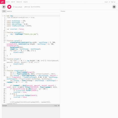 p5.js Web Editor | glitch cow