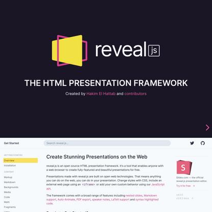 The HTML presentation framework | reveal.js