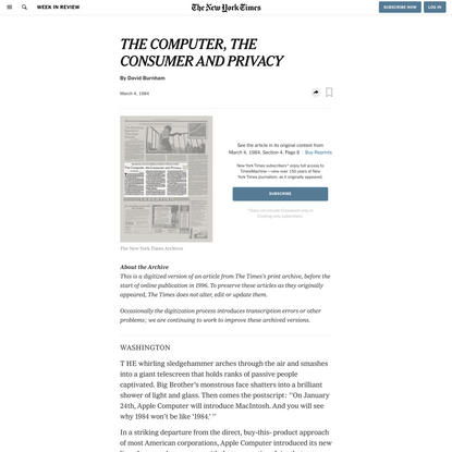 THE COMPUTER, THE CONSUMER AND PRIVACY