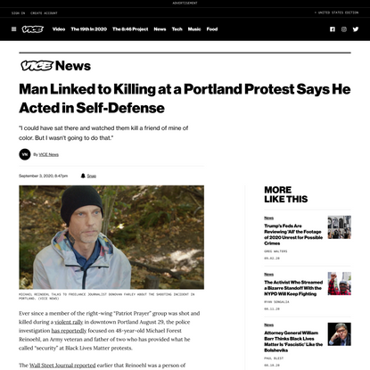 Man Linked to Killing at a Portland Protest Says He Acted in Self-Defense