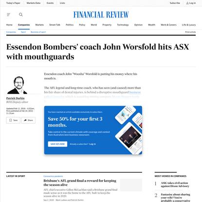 Essendon Bombers' coach John Worsfold hits ASX with mouthguards