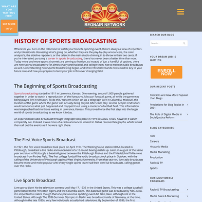 History & Evolution of Sports Broadcasting | Be On Air