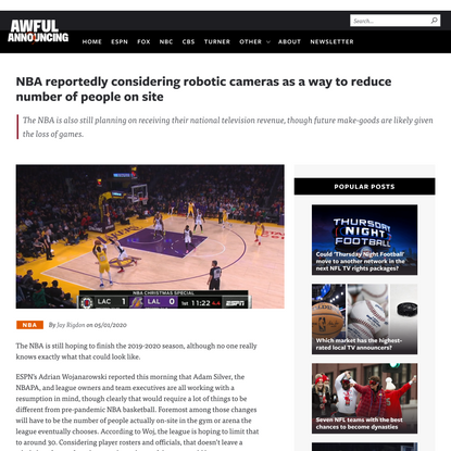 NBA reportedly considering robotic cameras as a way to reduce number of people on site