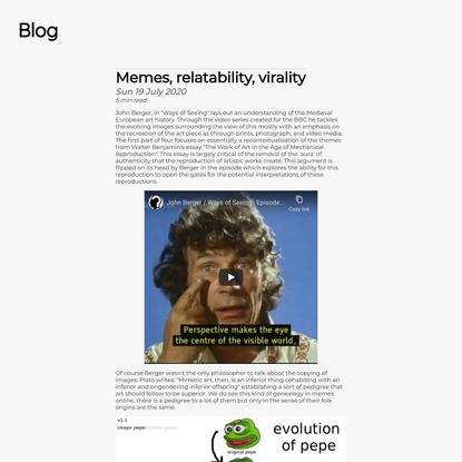 Memes, relatability, virality