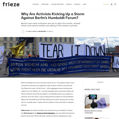 Why Are Activists Kicking Up a Storm Against Berlin's Humboldt Forum?